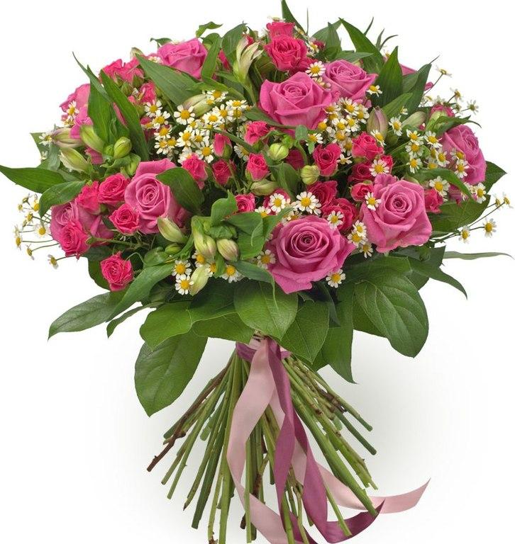 Букеты из роз и ромашек